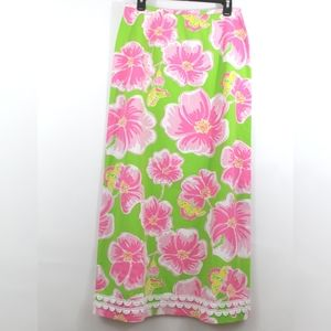 Vintage Lilly Pulitzer Maxi Skirt Floral Butterfly